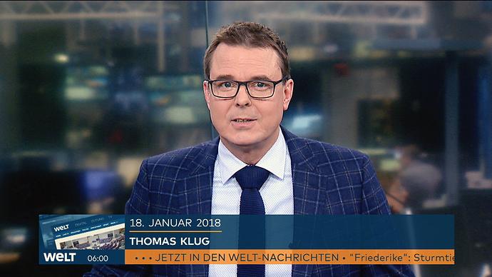 Moderator Thomas Klug 6 Uhr WELT Begruessung